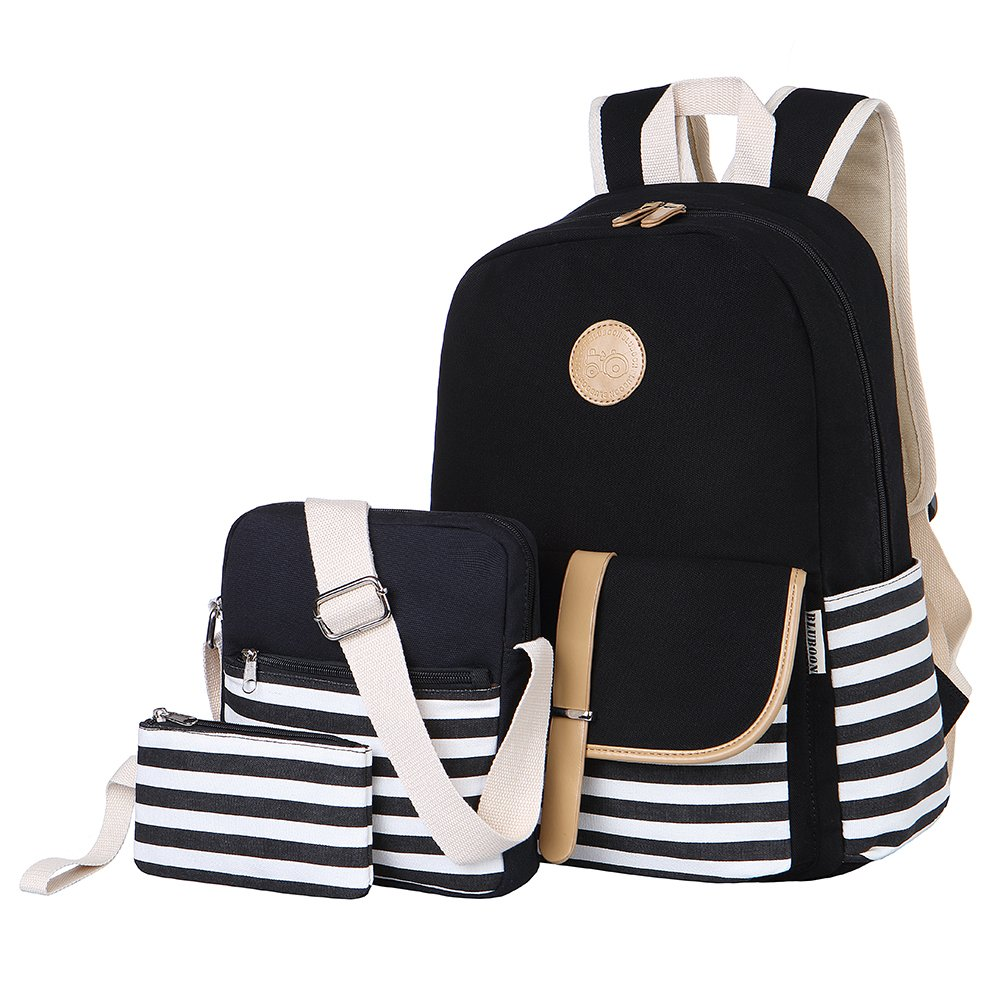 BLUBOON Teens Canvas Backpack Girls School Bags Set Bookbags Shoulder bag Pouch 3 in 1 by BLUBOON