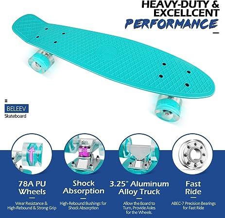 environ 55.88 cm complet Mini Cruiser Retro SKATEBOARD pour enfants ados Beleev Skateboard 22 in