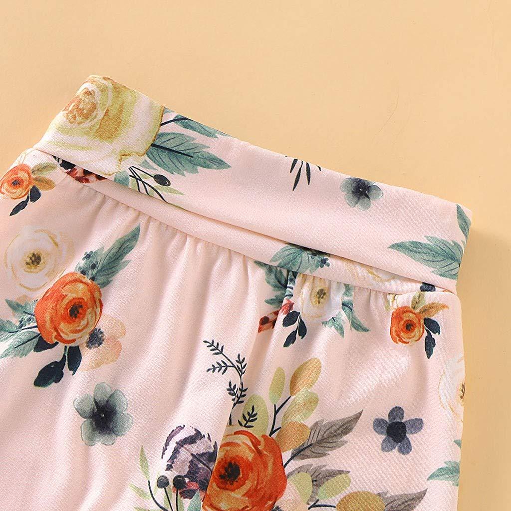 Pantalones Florales Sombrero Diademas Traje de 4 Piezas para Ni/ñOs Peque/ñOs Traje de Mameluco de Manga Larga para Beb/éS