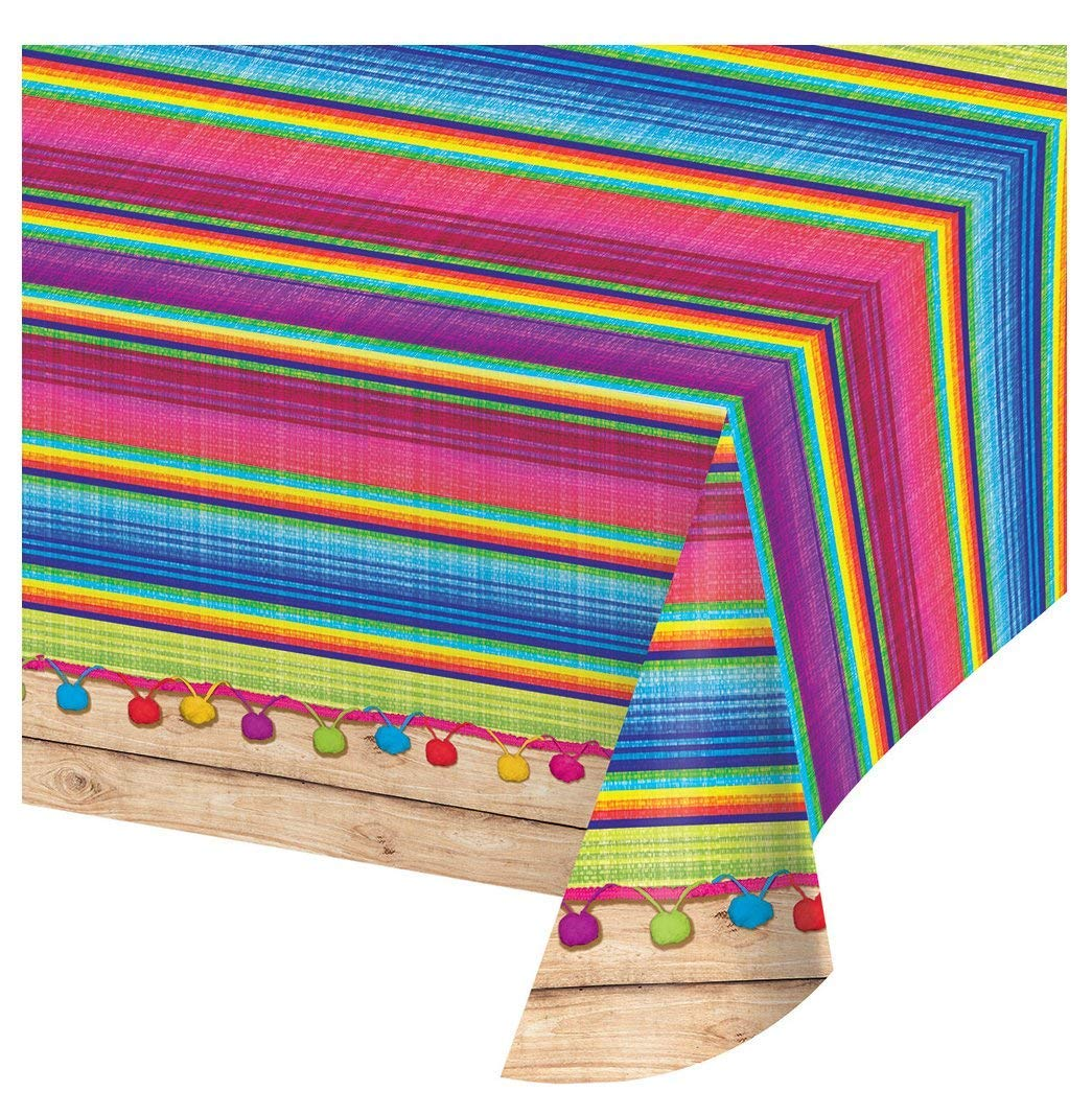 Creative Converting All Over Print Plastic Table Cover, 54 x 102, Serape   3 Pack