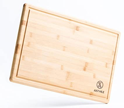 JustNile Extra Large 18 x 12 Eco-friendly Hygienic  Moso Bamboo Cutting Board with Juice Groove, Durable and Stylish Kitchen Complement, Easy Maintenance