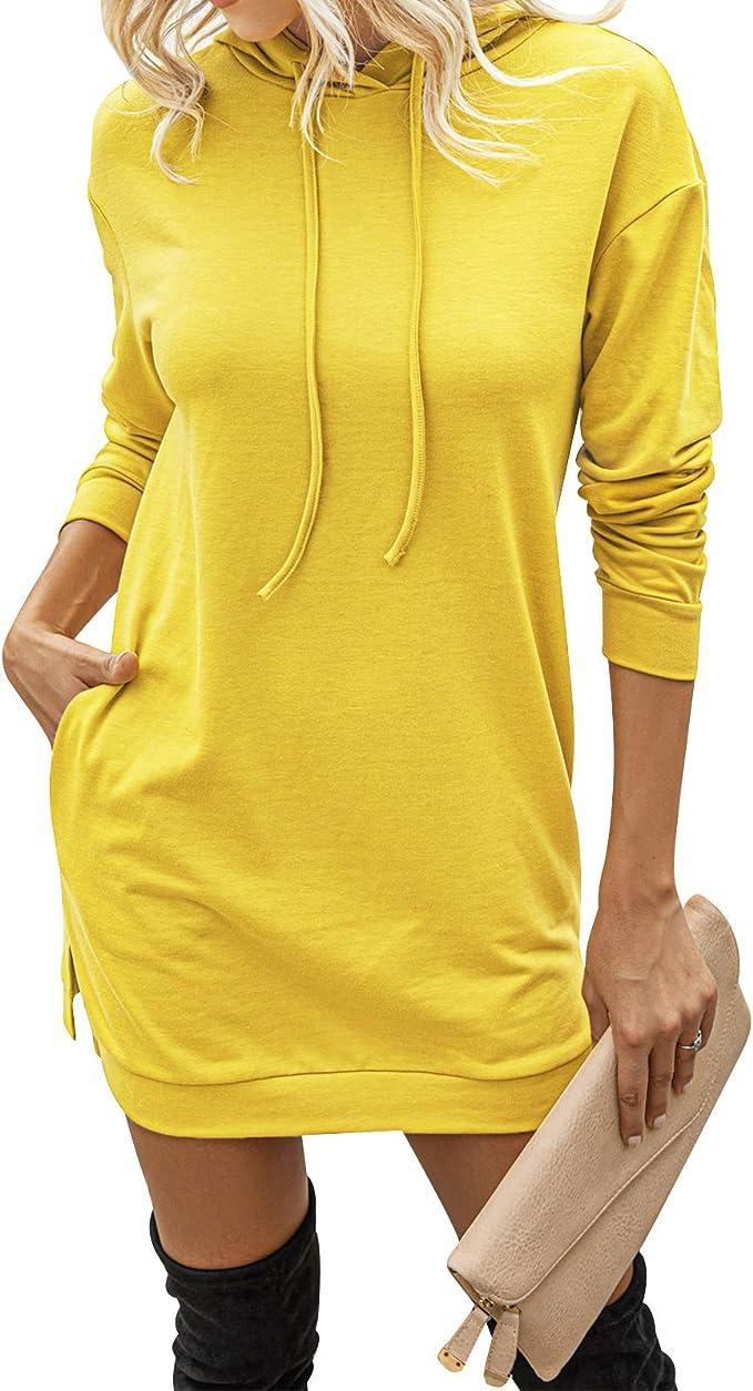 WonderBabe Pullover Top da Donna con Motivo a Lettere Stampato//Tinta Unita Manica Lunga Casual con Tasca
