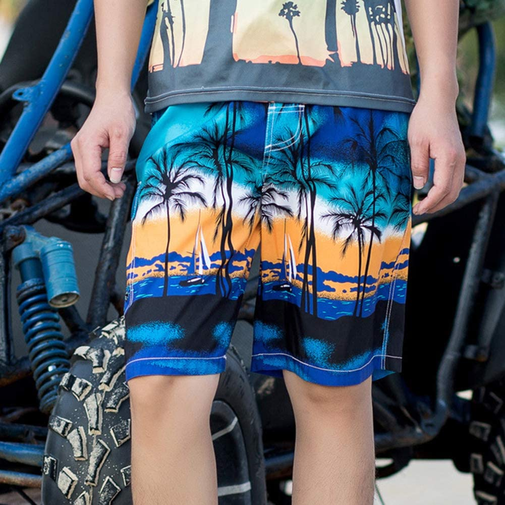 TRENTON Men Swimming Trunks Plus Size Coconut Tree Print Comfortable Pants Shorts Boardshorts for Summer Beach Green XXL
