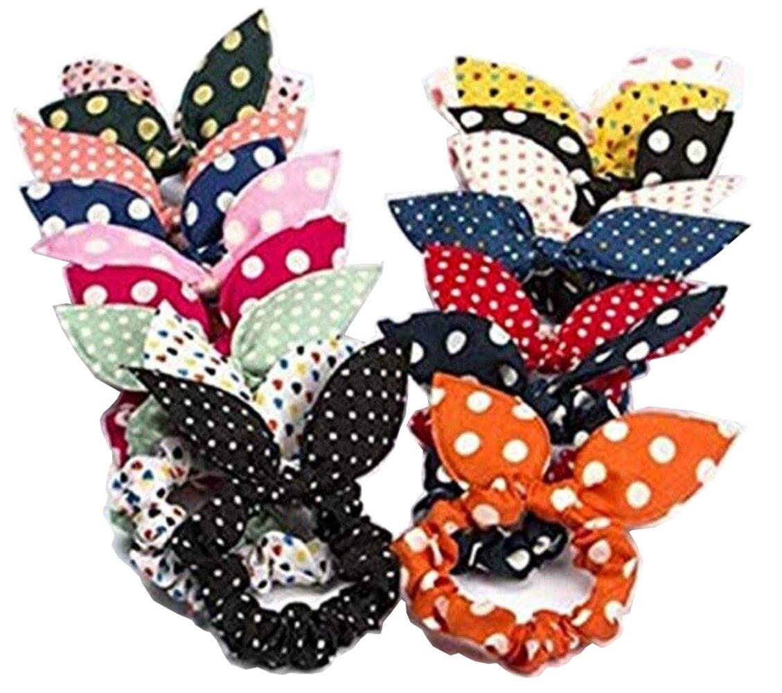 10 PCS Cute Rabbit Ear Hair Tie Bands Elastic Ponytail Holder Hair Ring Ropes Bow Styling Tools Headband For Women Lady Girls Color Random TUPWEL