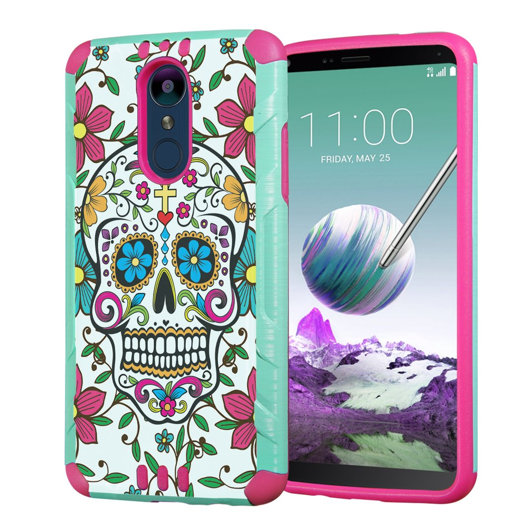 Capsule Case Compatible with LG Stylus 4, LG Stylo 4 (Year 2018) [Hybrid Dual Layer Silm Defender Armor Combat Case Mint Pink] for LG Stylo 4 - (Sugar Skull Blue)