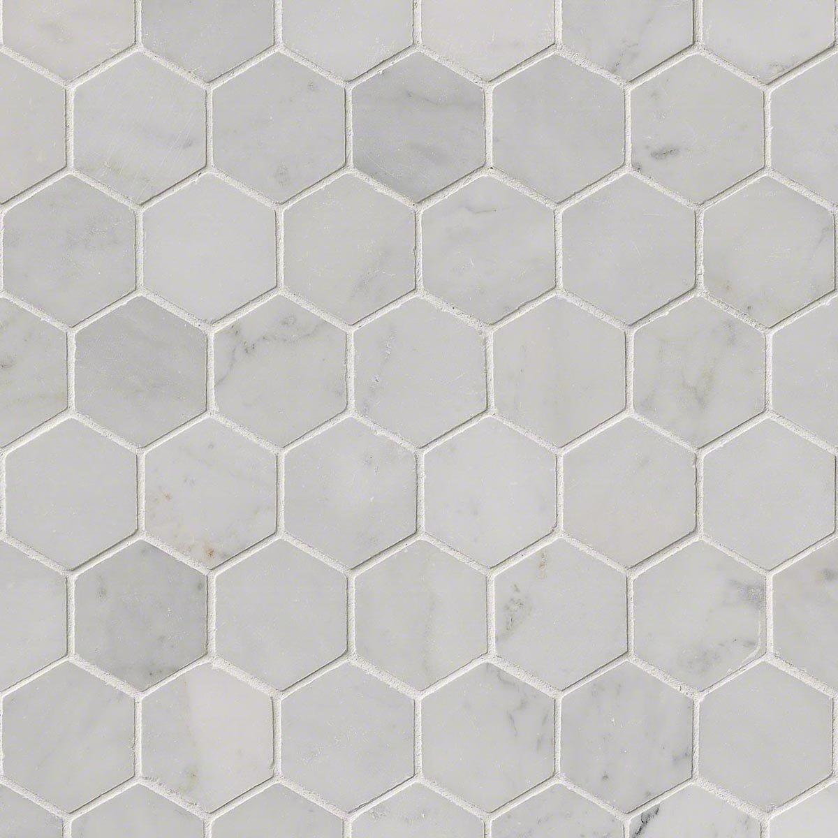 MS International SMOT-CAR-2HEXP Carrara White Hexagon Polished Mosaic Tiles, 2'' by MS International
