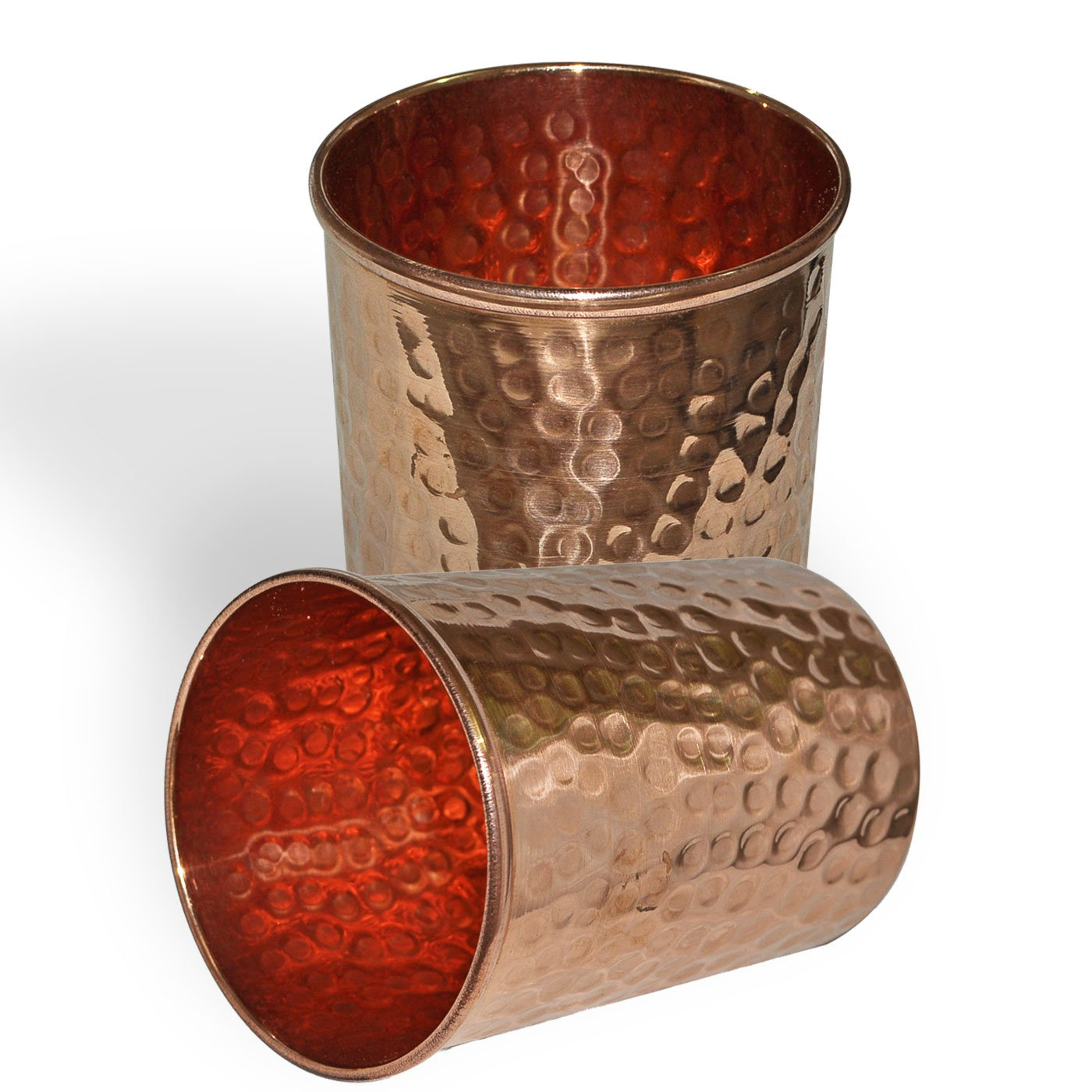 Dakshcraft Handmade Pure Copper Hammered Tumbler,Set of 2
