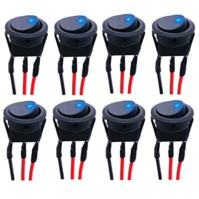 Twidec/8Pcs SPST Round Dot Rocker Toggle Switch Control for Car Or Boat 20A 12V DC On/Off Blue LED Light with Pre-soldered Wires KCD2-102N-BU-X: Industrial & Scientific
