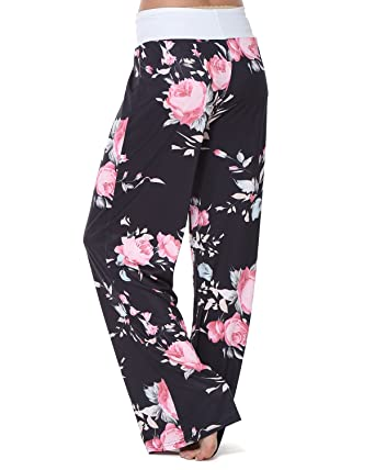 919b43a529b GAMISS Women s Casual Wide Leg Pajama Pants Floral Print Comfy Drawstring  High Waist Yoga Lounge Palazzo