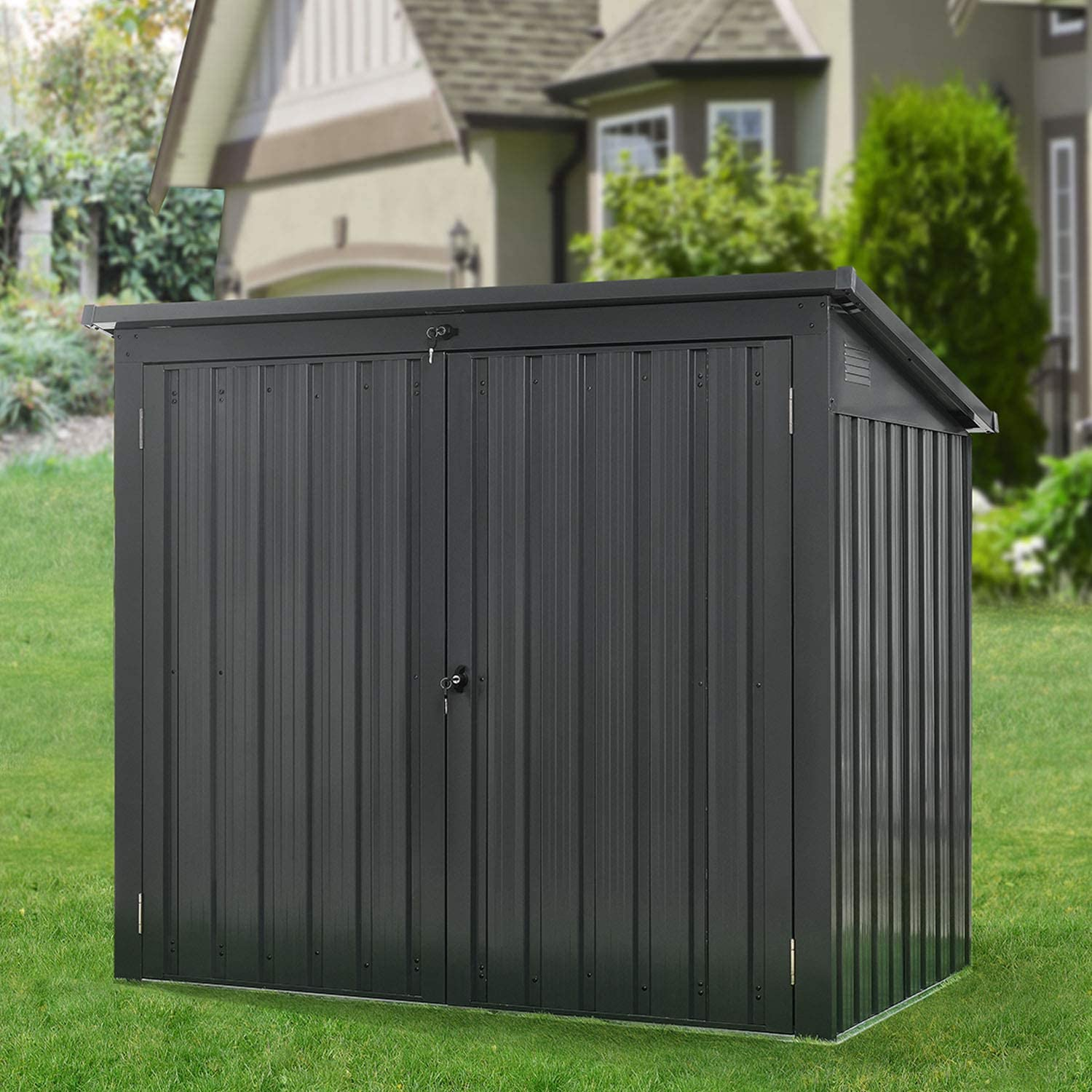 Hanover HANBINSHD-Gry Galvanized Steel Trash and Recyclables Storage Shed with 2-Point Locking System, Dark Gray