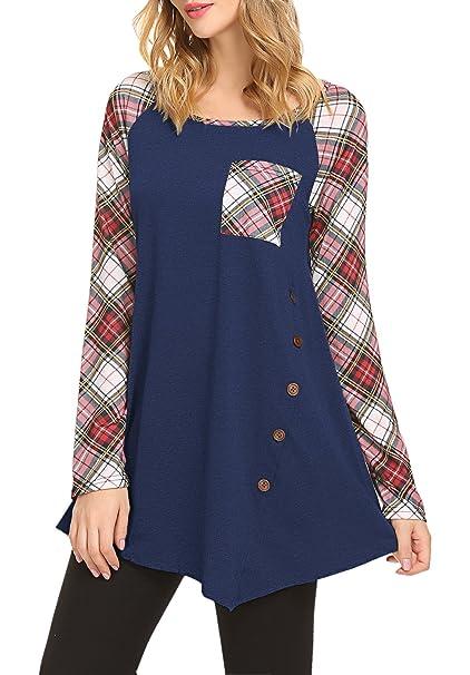 d2b2273a7b JQstar Women s Raglan Button Long Sleeve Swing Tunic Top Casual Loose  Blouse T Shirt Navy Blue