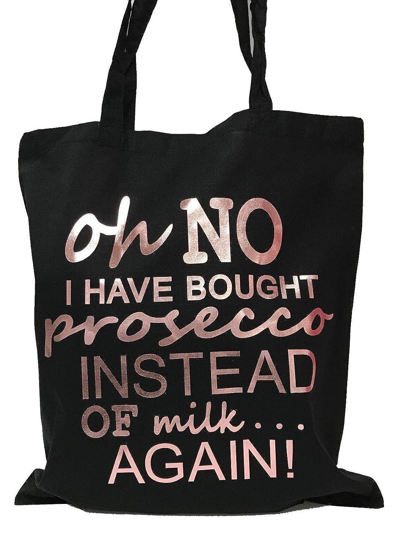 Oh No I Have Comprado Prosecco Bolsa de la compra (negro/metá lico oro rosa) Westfield Mill