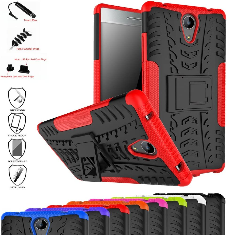 Lenovo Phab 2 Case,Mama Mouth Shockproof Heavy Duty Combo Hybrid Rugged Dual Layer Grip Cover with Kickstand for Lenovo Phab 2 Smartphone(with 4 in 1 Packaged),Red