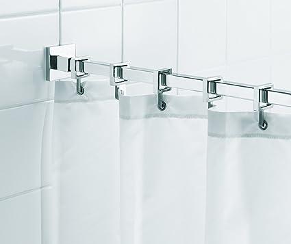 Amazon.com: Croydex Luxury Chrome Aluminum Square Shower Curtain Rod ...