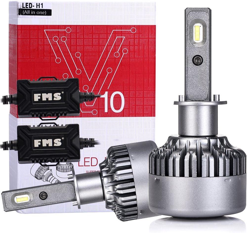 FMS - Kit de conversión V10 para bombillas LED para faros delanteros, con doble haz alto y bajo, diseño compacto todo en uno con ventilador, 40 W, 4800 lm, 6000 K, color