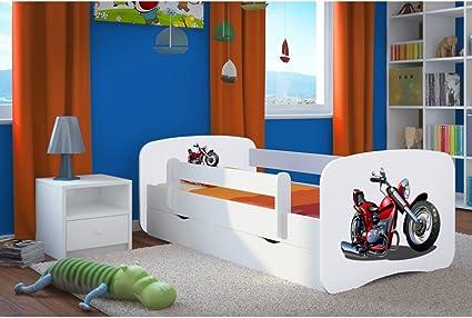 Cama infantil de 80 cm x 180 cm con diseño de moto, incluye ...