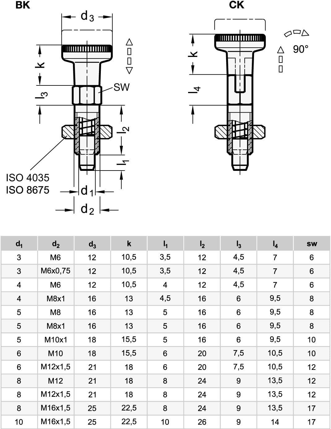 ganter Norma Elementos GN 717//–/6/de M10/de AK de ni//–/Sus pernos de fijaci/ón de acero inoxidable, Plata, 2/unidades