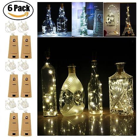 Juego de 6 Guirnaldas luminosas – luz de Navidad tapón de la botella, luces decorativas
