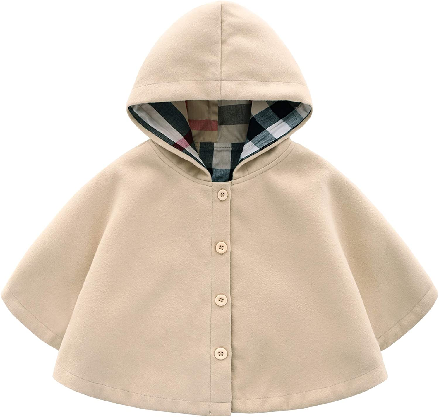 Hotmiss Baby Girls Boys Toddler Wool Blend Hooded Outerwear Capes Poncho Coat