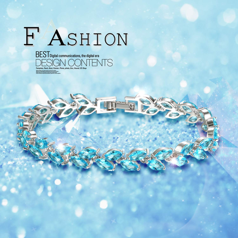 Aroncent Bijoux Fantaisie Bracelet Femme Bracelet Feuille de Saule Arc-en-Ciel Pierre Zircon pour Cadeau d Anniversaire Mariage Nouvel an Saint-Valentin