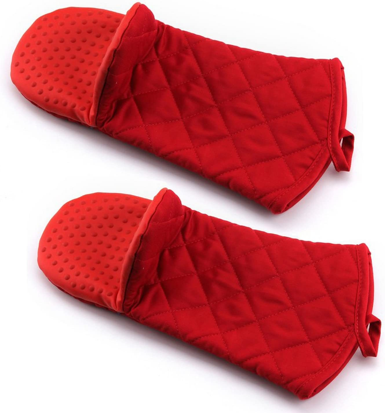 Bekith Oven Mitt with Non-Slip Silicone Grip, Heat Resistant Oven Gloves to 500° F, 2-Pack (Red)