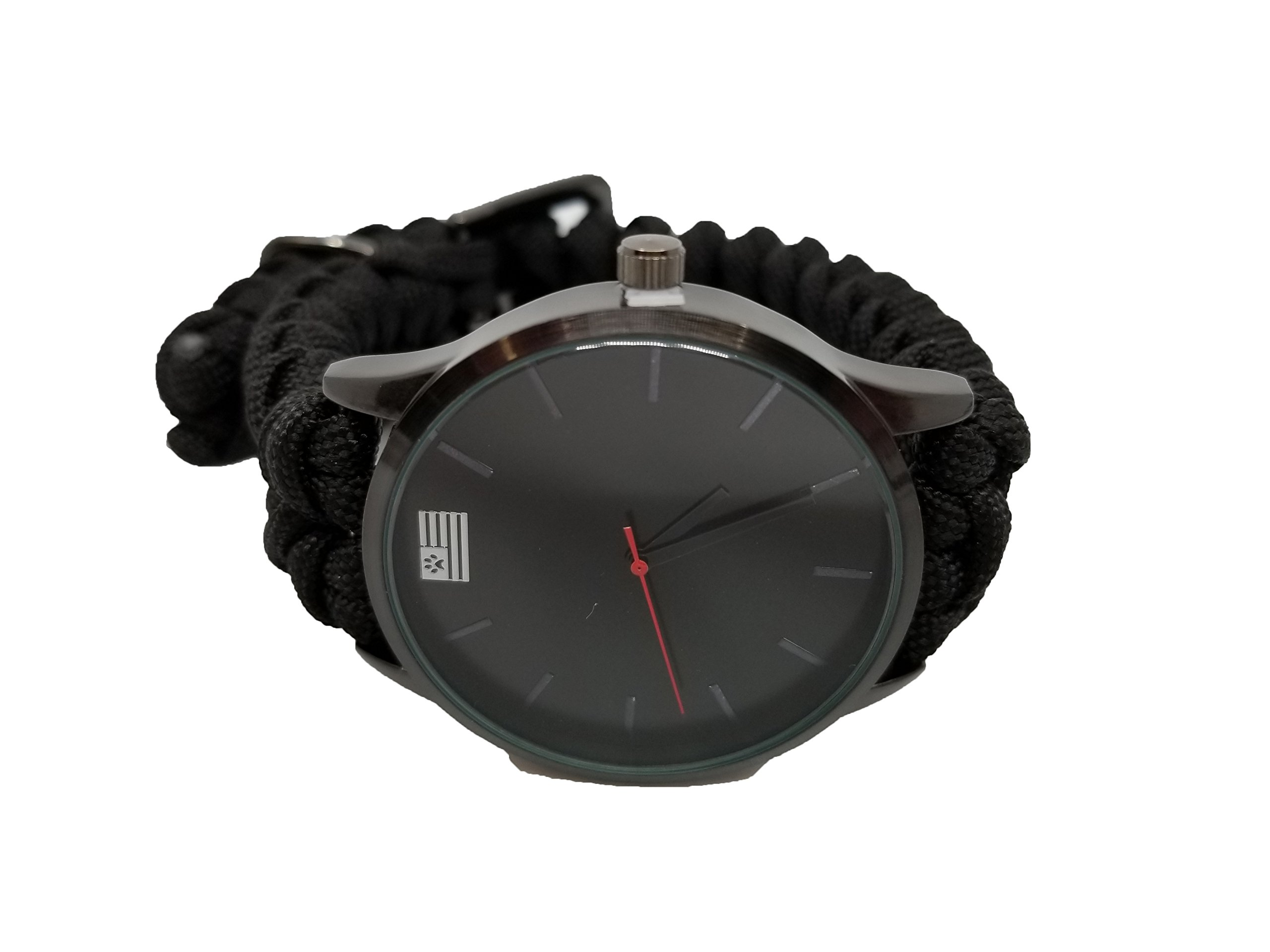 Black Paracord Analog Watch by iHeartDogs | Stylish Survival Gift For Men and Women! | Purchase Feeds 15 Shelter Dogs!
