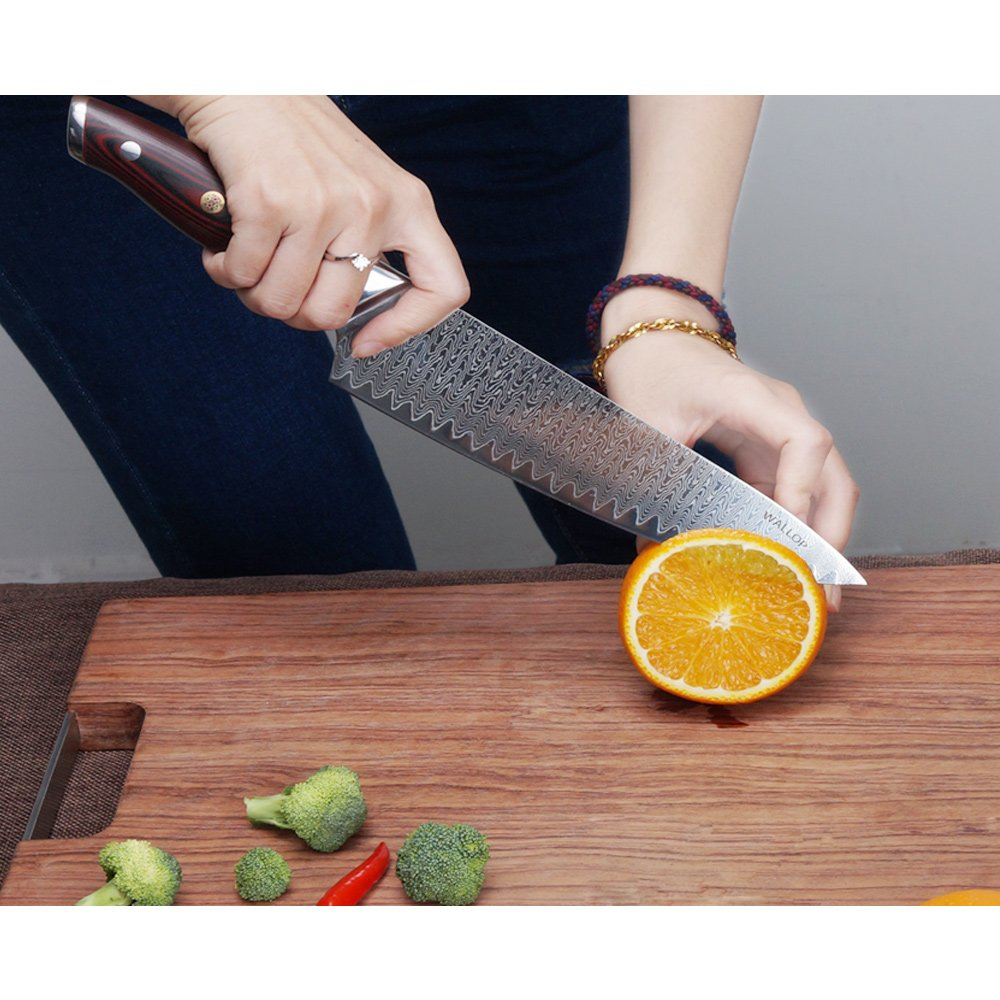 8' AUS-10 Core 67 Layers Damascus Chef Knife with G10 Handle and Wave Blade Pattern, Meat Cleaver, Vegetable Salad Chopper Cutter Knife by WALLOP VP by WALLOP (Image #2)