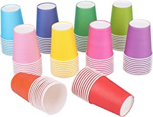 Yesland 200 Packs 7.5 OZ Disposable Party Paper Cups, 10 Colors Paper Drinking Cup for Water, Juice, Coffee or Tea, Perfect for Holiday Wedding Office Outdoor Activities