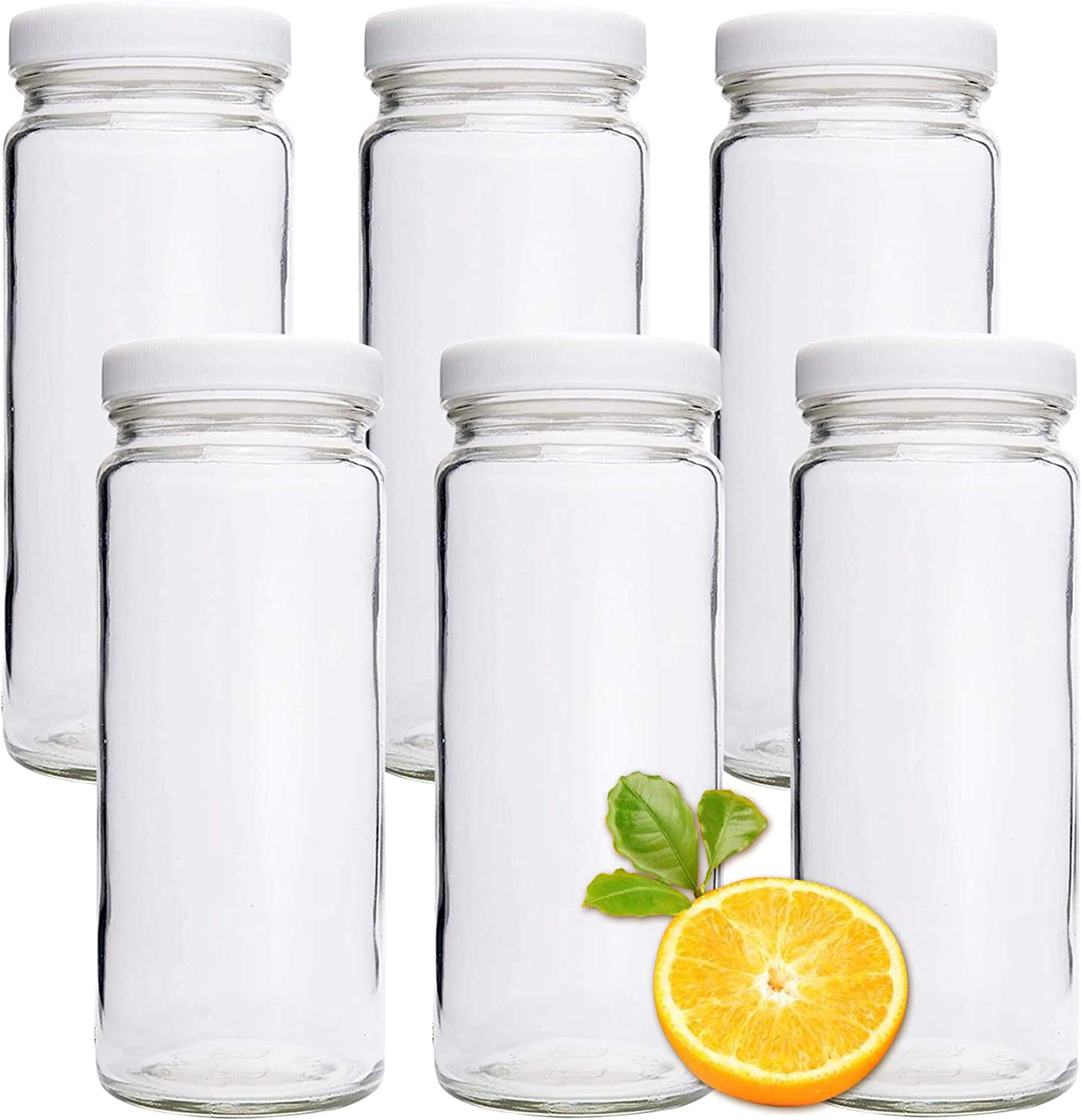 6 Pack 16 oz Clear Glass Water Bottles, Reusable Glass Beverage Bottle with Plastic Airtight Lid for Juice, Tea, Milk, Smoothies, Beverage Storage(4, 6)