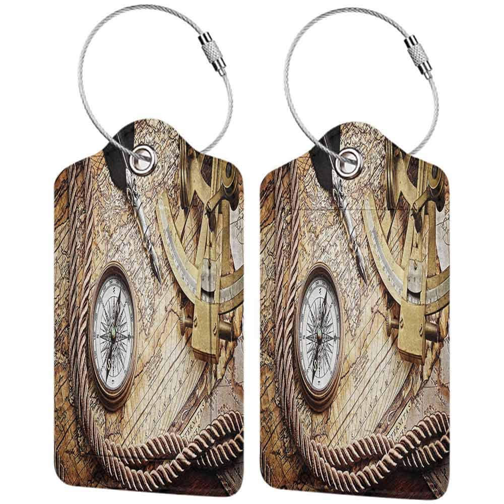 Durable luggage tag Compass Decor Vintage Navigation Voyage Themed Lifestyle Image with Sextant and Compass Discovery Tools Art Unisex Cream W2.7 x L4.6