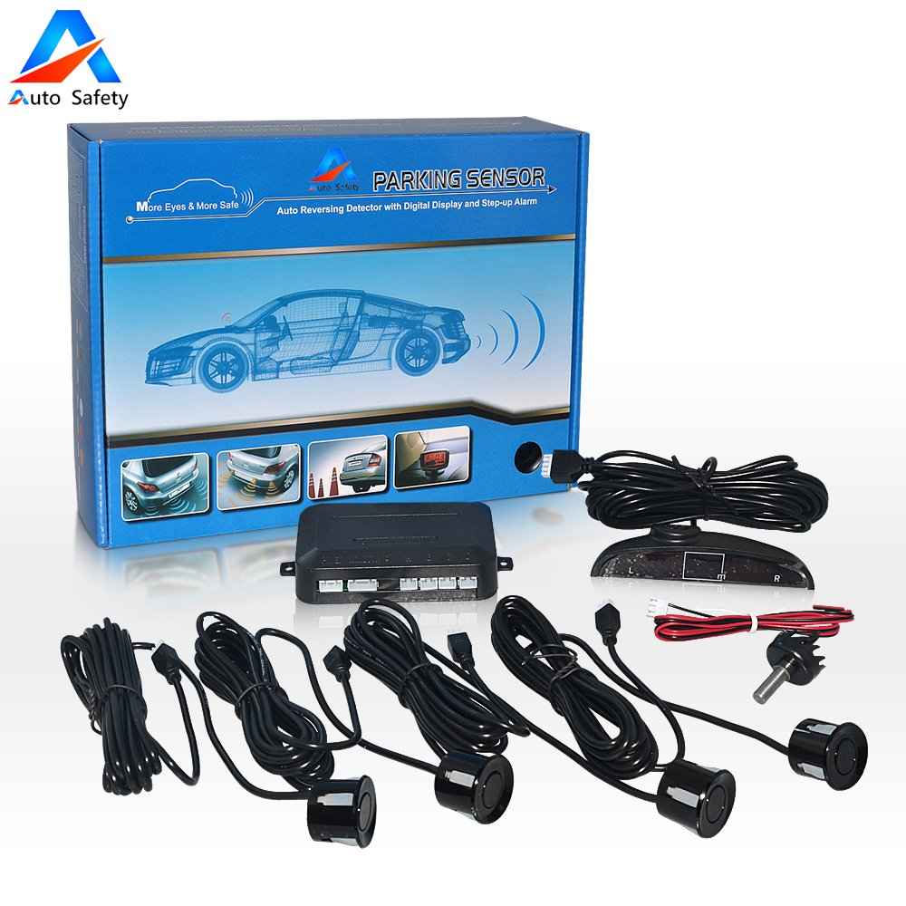 Human Voice Alert for Universal Auto Vehicle White LED Display 4 Parking sensors Auto safety Car Reverse Backup Radar System Parking Sensor kit