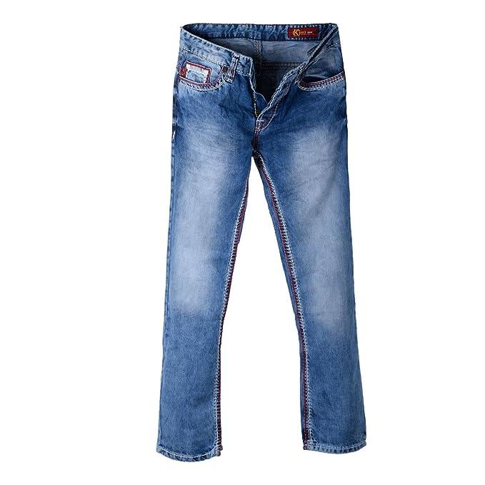 para Hombre Pantalones Vaqueros Used Look con Rojo y Blanco ...