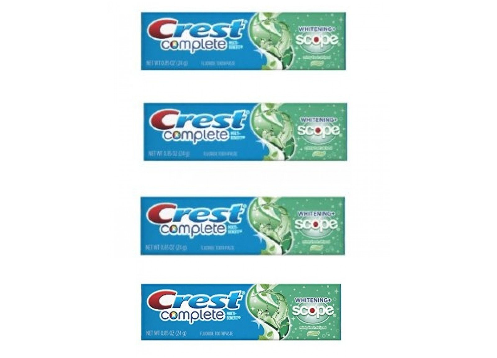 Crest Complete Whitening Scope Minty Toothpaste .85 Oz Travel Size 4 Pack