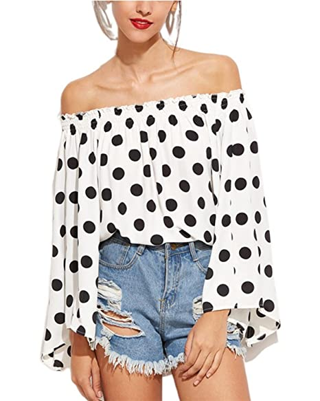 0e749cfeda2bc Kyerivs Women Off Shoulder Polka Dot Blouse Bardot Long Bell Sleeve Loose  Tops Shirts (White