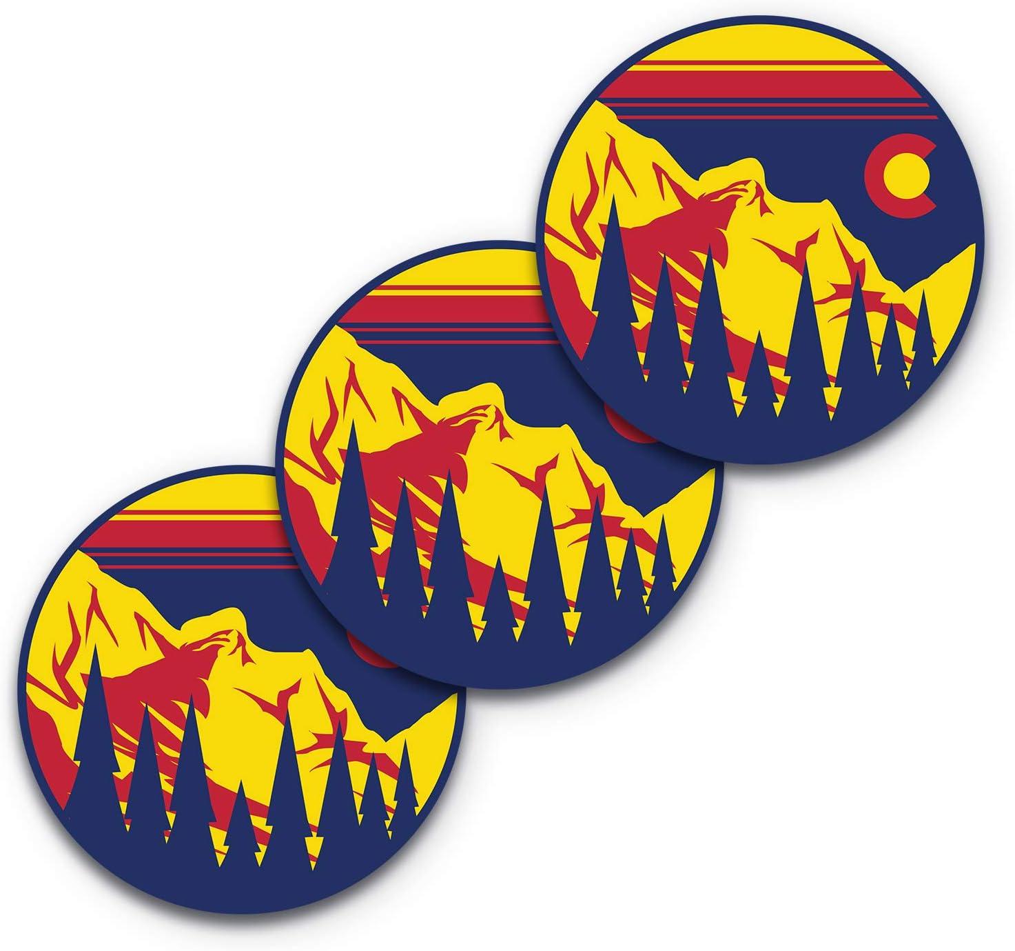 5x5 Colorado Mountain Sticker Colorado Sticker 3-Pack 100% Waterproof Colorado Stickers for Cars Colorado Decal Colorado Car Decal Colorado Flag Bumper Sticker