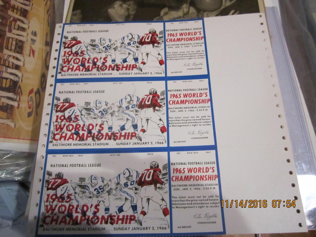 uncut sheet of 1965 World Championship NFL football ticket proof