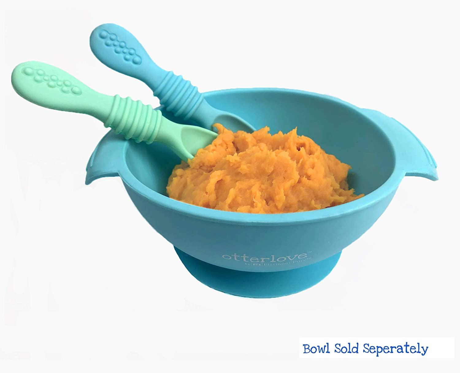 Otterlove Silicone Baby Spoons Self Feeding Training Spoon 100/% Platinum Pure LFGB Silicone Soft-Tip Blue /& Green Teether for Baby Led Weaning