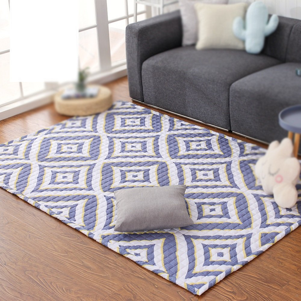 Modern living room sofa coffee table carpet bedroom bedside carpet / home decoration lattice diamond carpet ( Size : 140220cm )