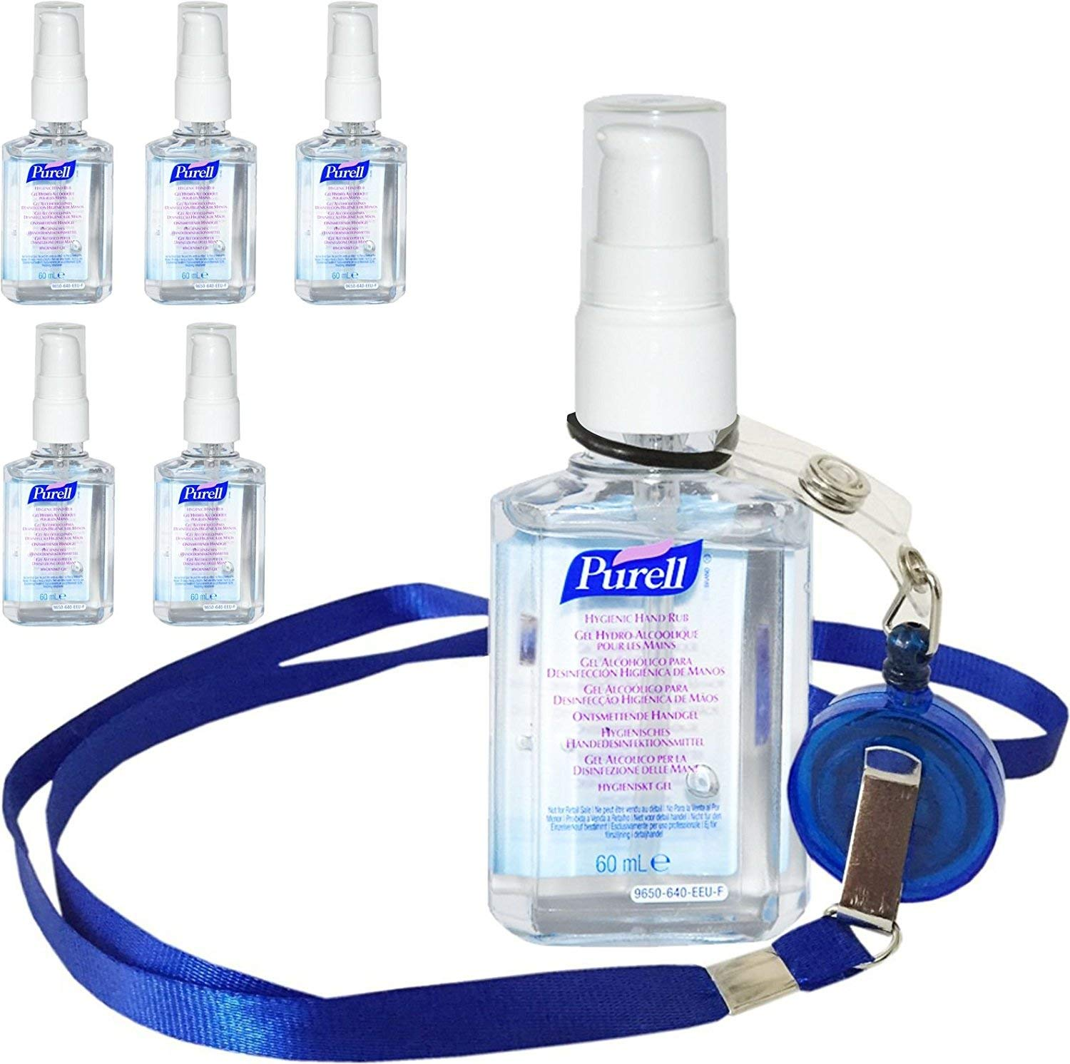 6 x Purell Hygenic Hand Sanitizer Gel / Rub 60ml Personal Pump Bottles Used by Hospitals Gojo