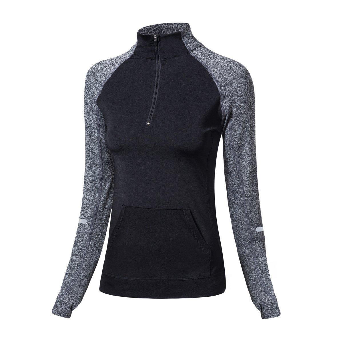 EZ-Joyce Women's Long Sleeve Yoga Sweatshirt Half Zip Jacket with Thumb Holes