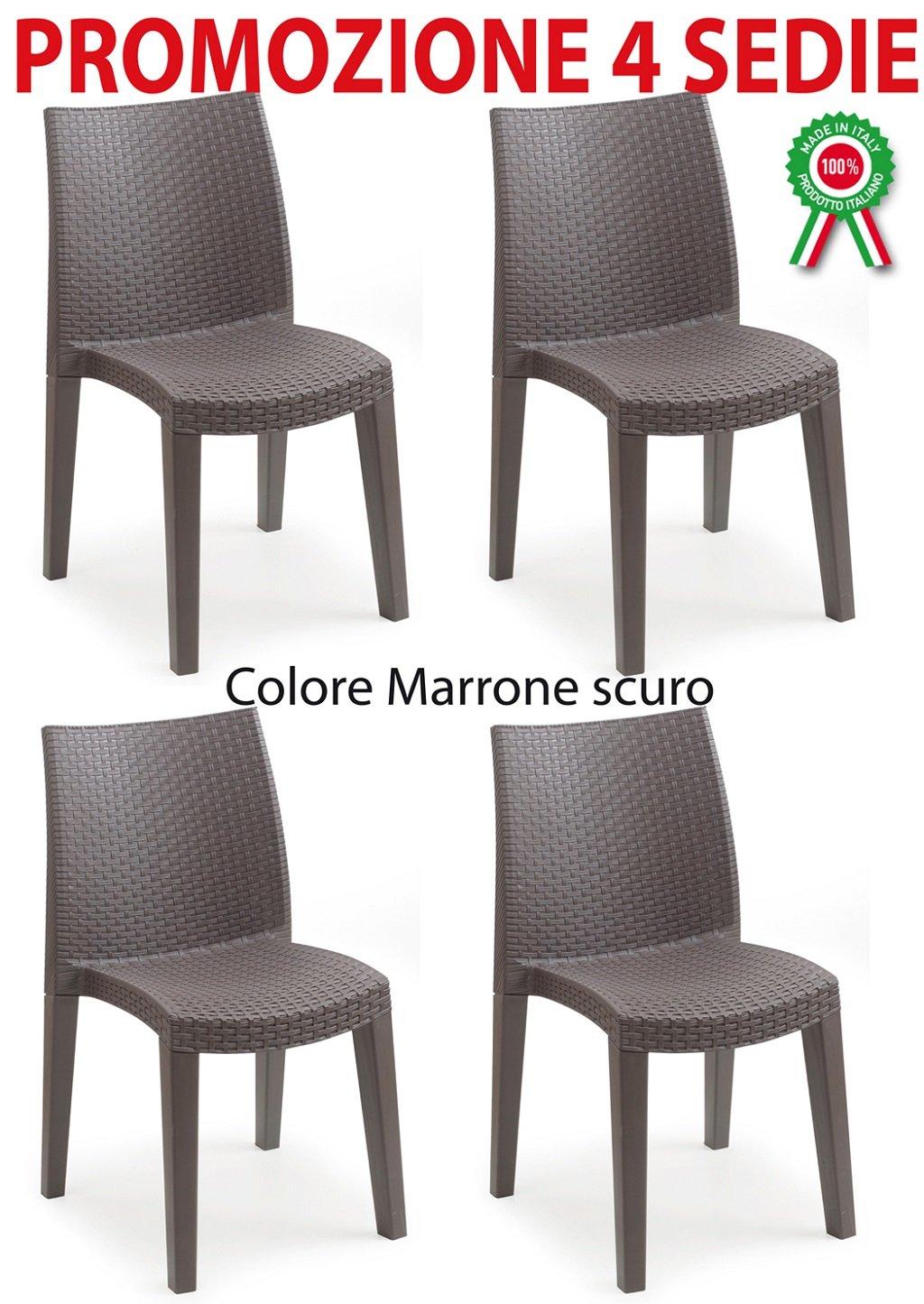 4 pz Poltrona sedia lady in dura resina finto rattan vimini marrone scuro Savino Fiorenzo