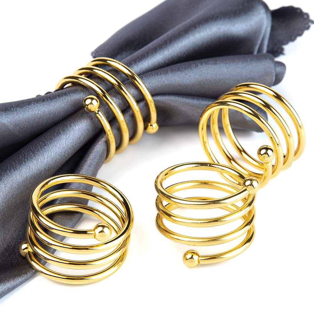 Jofefe 8pcs Gold Napkin Rings Round Napkin Holders Buckles for Wedding, Dinner Party, Table Decorations