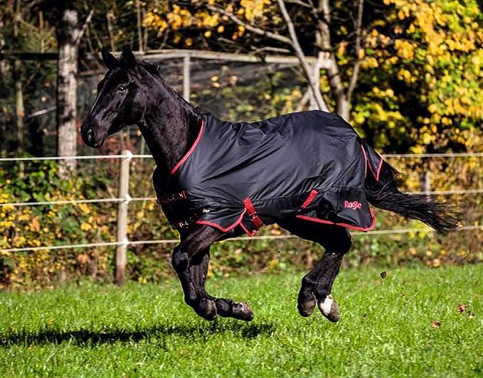 Covalliero Kerbl Outdoordecke RugBe Zero.1 Schwarz//Rot Pferdedecke Wasserabweisend