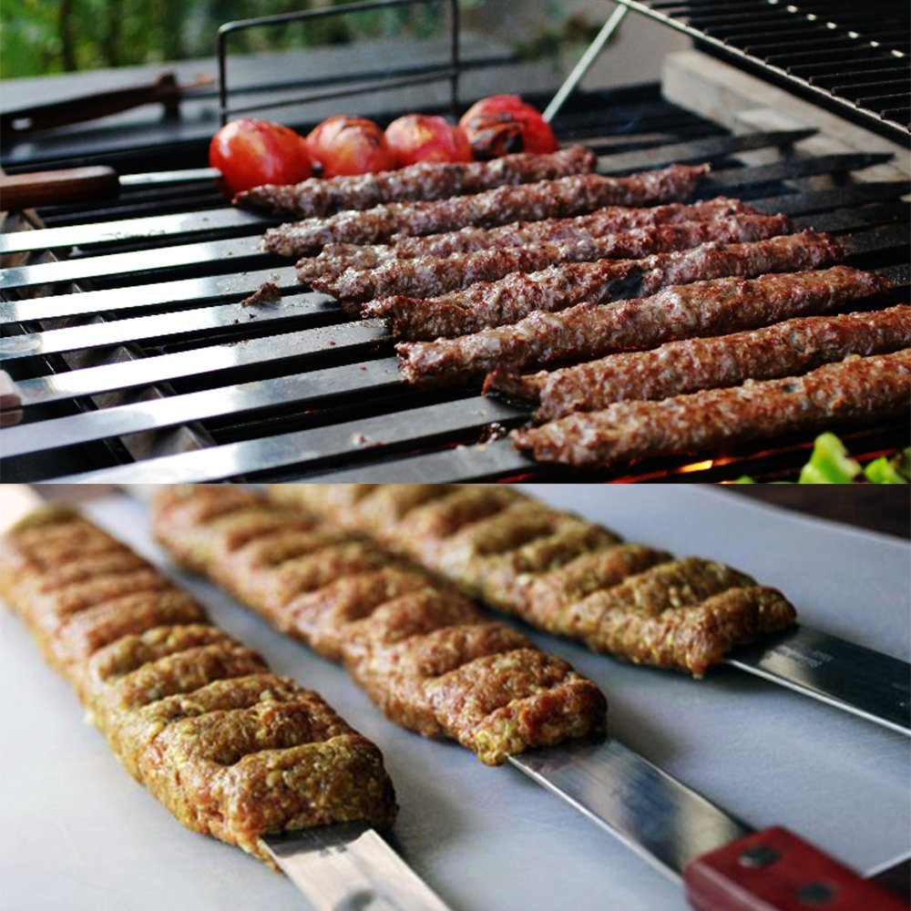 Set of 6 1 Inch Wide Stainless Steel BBQ Skewers Koubideh//Persian Goutime 23 Inch Brazilian Kabob