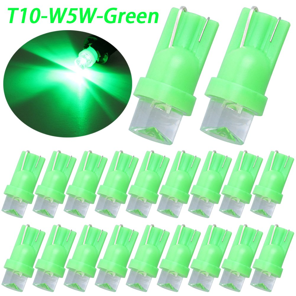 Scooter TABEN 10pcs Green 194 T10 Bulb W5W 192 168 175 2825 T10 Wedge Bulbs Front Rear Side Marker Door Courtesy Interior Map Dome Lights for Car Boat Motorcycle Truck Marine RV Trailer