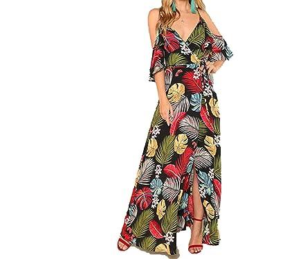 203a20a9750 Floral Print Deep V Neck Dress Women Beach Vacation High Waist Surplice Wrap  Dresses
