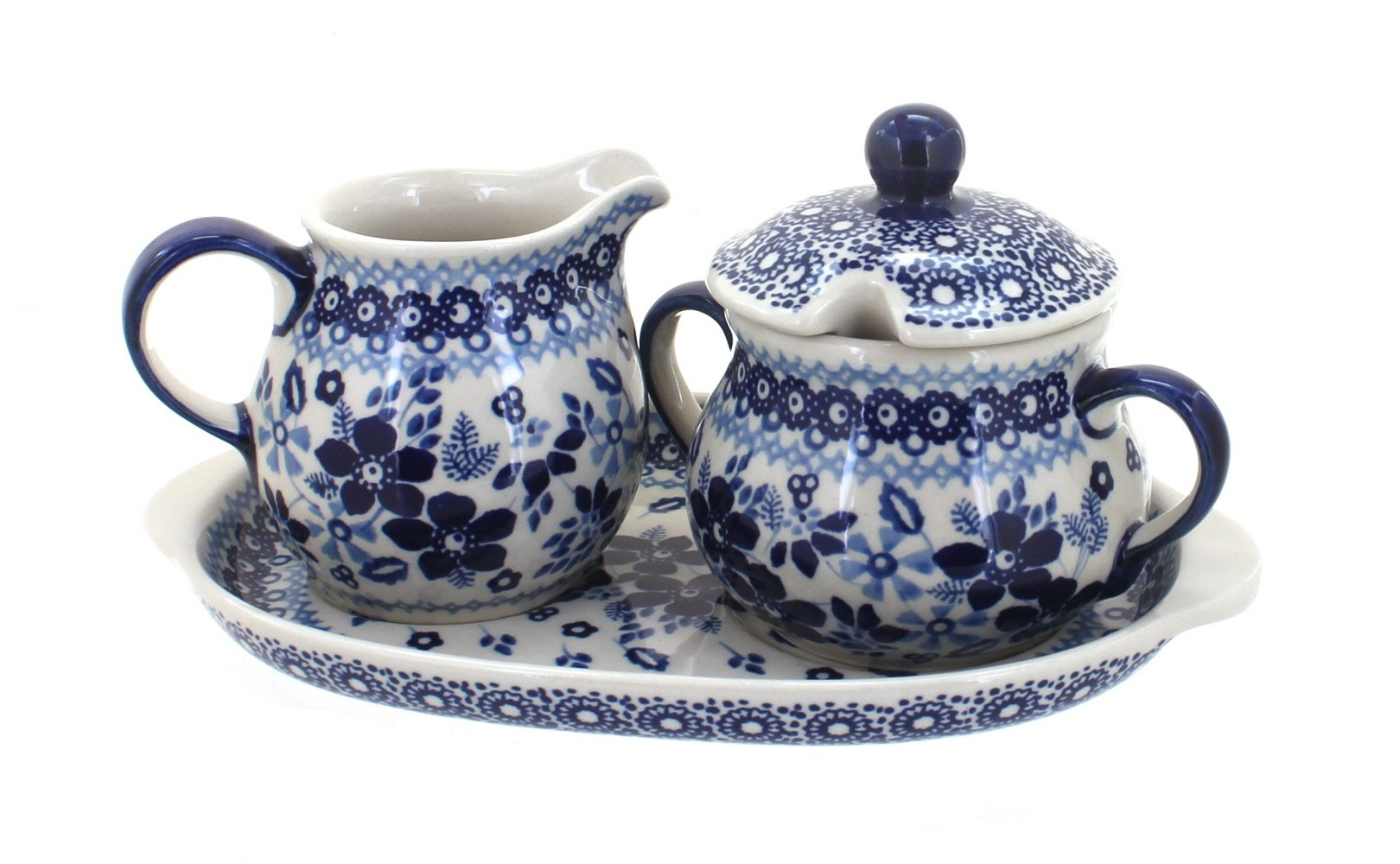 Polish Pottery Vintage Blue Daisy Sugar & Creamer with Tray