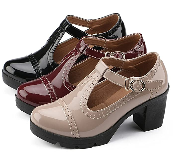 efd50a3f187 DADAWEN Women s T-Strap Platform Court Shoes Mid Heel Mary Jane Oxfords  Dress Shoes  Amazon.co.uk  Shoes   Bags