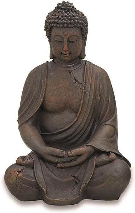 Estatua de Buda Decoración escultura Altura 40cm de resina de color antracita: Amazon.es: Hogar