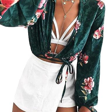 59abd0474a8e3 Longwu Women s Sexy Wrap Chest Deep V-Neck Long Sleeve Chiffon Front Tie Crop  Top Short Blouses Shirts